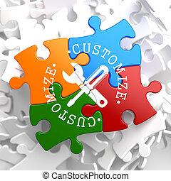 customize, sokszínű, fogalom, puzzle.
