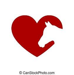 cut., piros, cutting., szív, közfal keret, lovak, vektor, icon., t, plotter, ábra, aláír, lézer, arc, árnykép, rajz, print., alakít, vinyl, böllér, .love, white ló, fej, képlevonás, háttér, ing