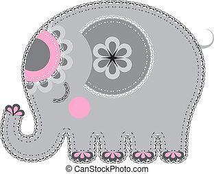 cutout., szerkezet, állat, elefánt