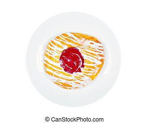 dán, háttér, tányér, elszigetelt, cukrászsütemény, finom, fehér