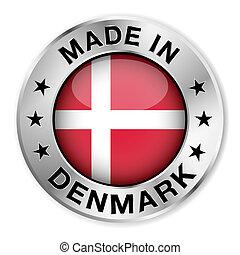 dánia, elkészített, jelvény, ezüst