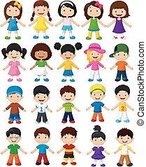dél, boldog, karikatúra, gyűjtés, gyerekek