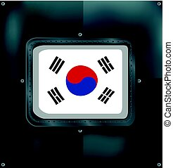 déli, metalic, korea, lobogó, háttér