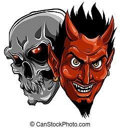 démon, ördög, ábra, koponya, vektor, fej