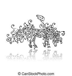 díszítés, ló, skicc, virágos