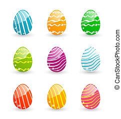 díszítő, állhatatos, színes, ikra, -, elszigetelt, ábra, vektor, háttér, fehér, húsvét