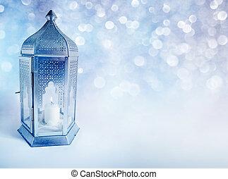 díszítő, égető, ramadan, közösség, hónap, gyertya, arab, kék, kártya, bokeh, izzó, kareem., jámbor, ünnepies, muzulmán, lights., háttér, köszönés, meghívás, világító, night., ragyogás