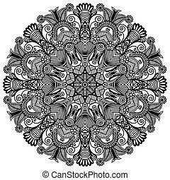 díszítő, befűz, díszítés, motívum, karika, fekete, gyűjtés, geometriai, szalvéta, fehér, kerek