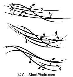 díszítő, hangjegy, zene, vonalrendszer