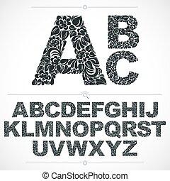 díszítő, irodalomtudomány, abc, lettering., pattern., fehér, botanikai, hand-drawn, vektor, tervezés, szüret, virágos, betűtípus, díszes, gépelt kézirat, főváros, fekete