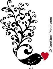díszítő, madár, piros szív