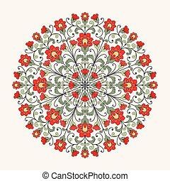 díszítő, pattern., kerek, befűz