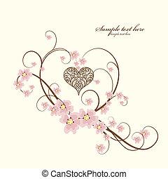 díszítő, szív, szöveg, keret, állás, -e