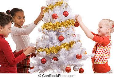 díszít, fa, karácsony