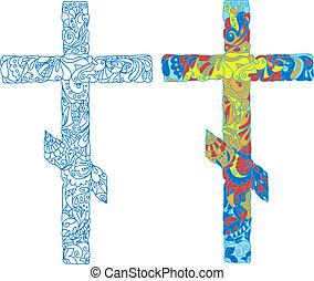 díszített, ünnep, húsvét, kereszt, ortodox