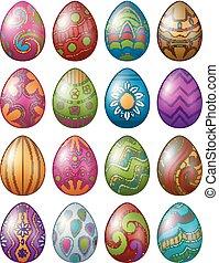 díszes, elszigetelt, fehér, színes, húsvét, háttér, állhatatos, ikra