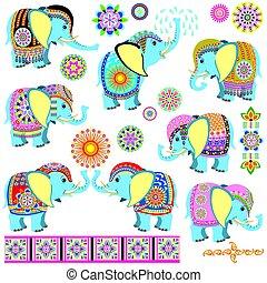 díszes, karikatúra, elefántok