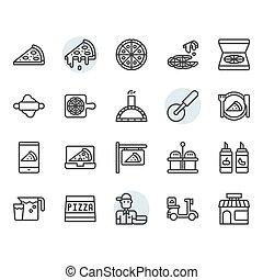 díszlet tervezés, jelkép, ikon, áttekintés, pizza