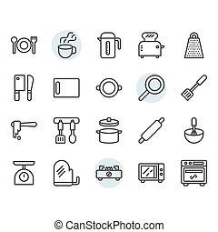 díszlet tervezés, jelkép, ikon, konyhai felszerelés, áttekintés