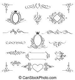 díszlet tervezés, vector., elements., calligraphic