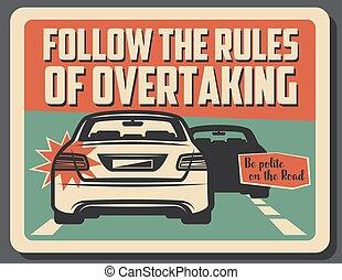 döntések, előzés, figyelmeztet, vezetés, út