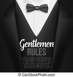 döntések, lista, mens, úriemberek, gyakorlatias, suit., vektor, black öltöny, template.