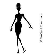 dönt, árnykép, ruha, rövid, mód, magas, nő