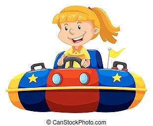 daganat, autó, kicsi lány, lovaglás
