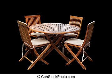 darabka, állhatatos, elnökké választ, elszigetelt, teak, erdő, asztal, út, black., megtakarított