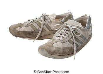 darabka, öreg, cipők, elszigetelt, futás, út