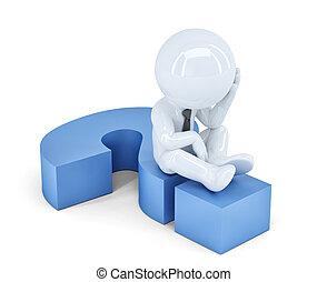 darabka, ügy, ülés, isolated., mark., tartalmaz, kérdez, út, concept., ember