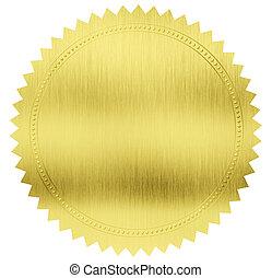 darabka, arany, címke, fóka, included, út