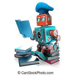 darabka, illustration., isolated., tartalmaz, robot, séf, út, felolvasás, cookbook., 3