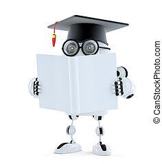 darabka, isolated., tartalmaz, robot, book., könyv, diák, tiszta, út, 3