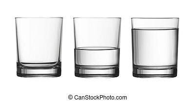darabka, tele, elszigetelt, víz pohár, alacsony, fél, included, út, fehér, üres