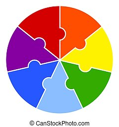 darabok, szivárvány, rejtvény, element., háttér, infographic, kerek, colors., diagram, fehér, vektor