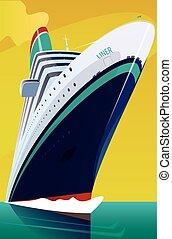 darabol, lenget, át, személyszállító hajó, cirkálás