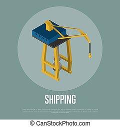 daru, isometric, transzparens, rakomány, hajózás