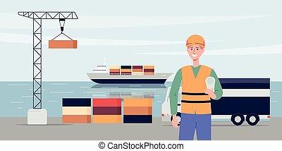 daru, rév, háttér, export, hajó, illustration., vektor, lakás