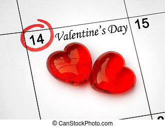 day., oldal, naptár, piros, 14, szent, piros, valentines, február