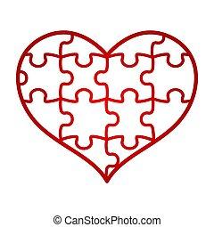 day., puzzle., vector., dolgozat, valentine's, template., szív, elvág