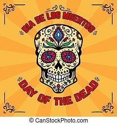 dead., elszabadult, mexikói, shirt., koponya, tervezés, háttér, dia, ellen-, muertos., repülő, kártya, sablon, elem, nap, pattern., poszter, transzparens, cukor, t, virágos