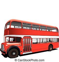 decker, megkettőz, piros, autóbusz