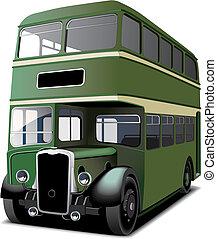 decker, megkettőz, zöld, autóbusz