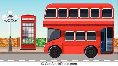 decker, város, london, autóbusz, megkettőz