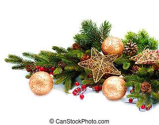 decoration., dekoráció, elszigetelt, ünnep, karácsony, fehér