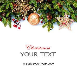 decoration., elszigetelt, háttér., tervezés, dekoráció, fehér, ünnep, határ, karácsony
