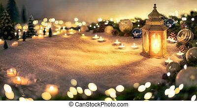 dekoráció, állati tüdő, karácsony, világító