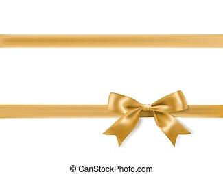 dekoráció, arany-, vektor, white., íj