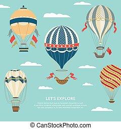dekoráció, balloon, ünnepies, levegő, léggömb, csípős, -, poszter, karikatúra